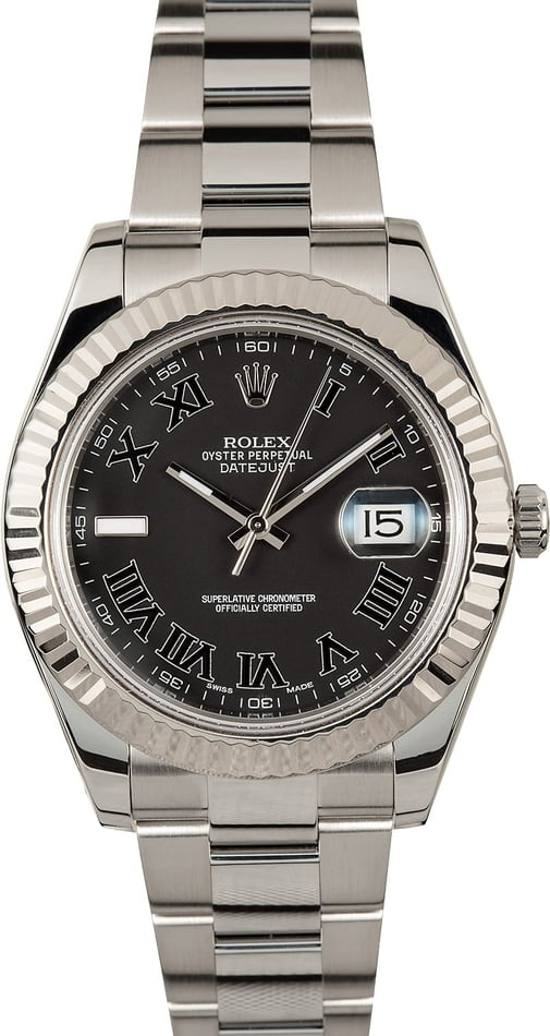 Certified Pre Owned >> Rolex Datejust II 116334 Black Roman Dial