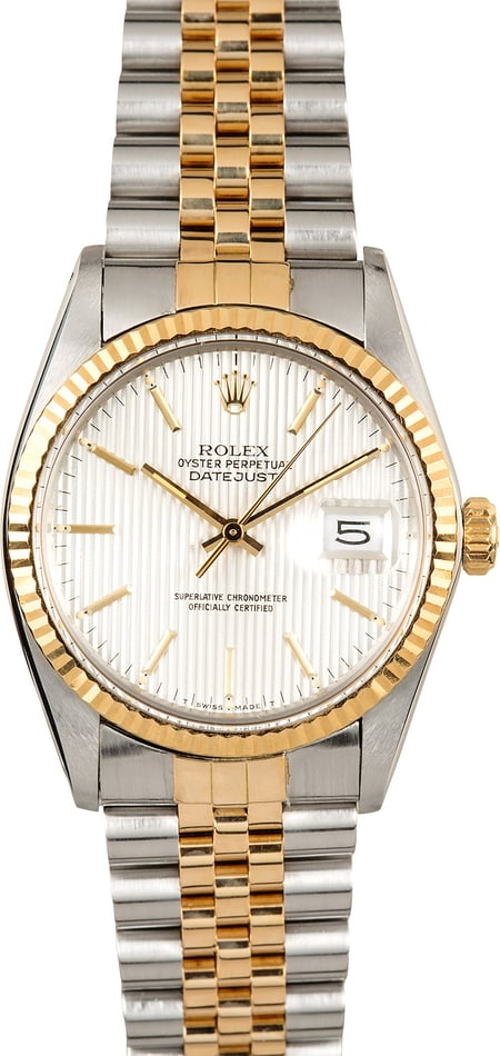 Datejust Rolex 16013 Silver Tapestry Dial