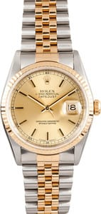 Men's Rolex DateJust Stainless and Gold 16233