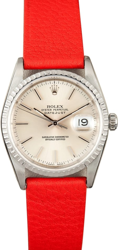 Rolex Steel Datejust 16200 Leather Strap
