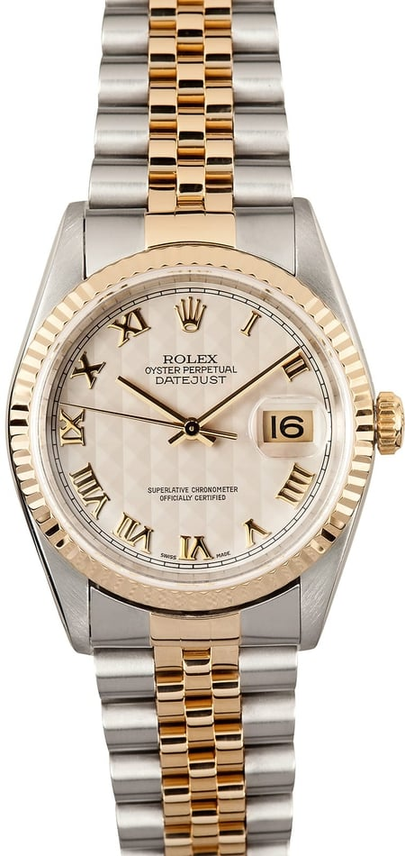 Pre-Owned Men's Rolex DateJust Ivory Pyramid Roman Dial 16233