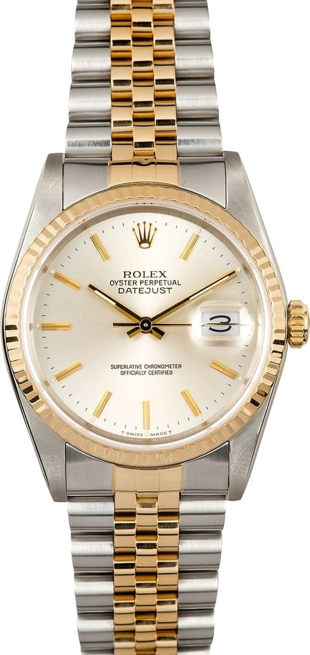 Mens Rolex Datejust 16233 Silver Dial