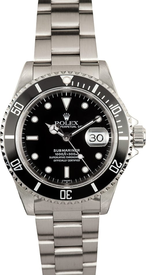 Men's Rolex Submariner 16610 Black Dial