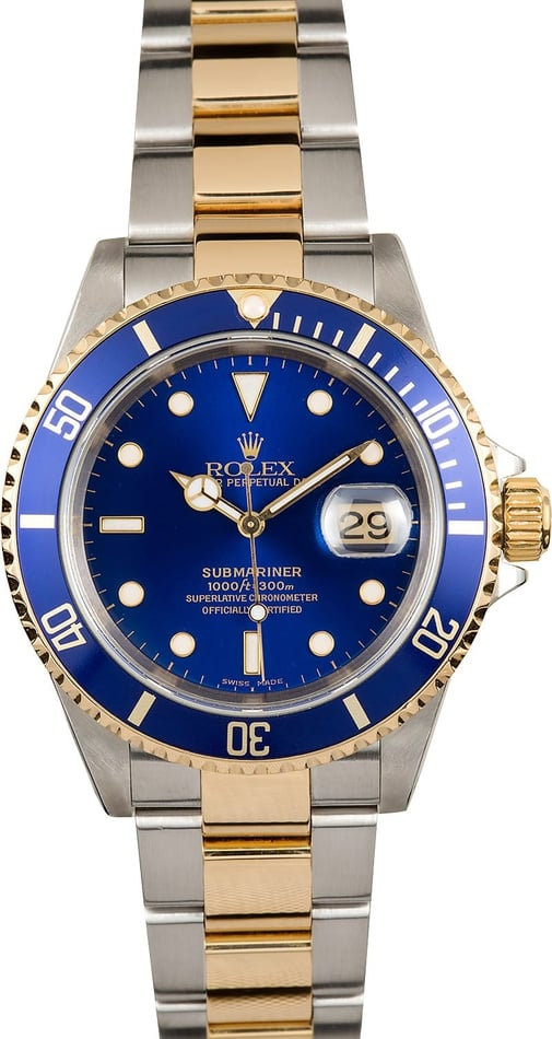 Rolex Blue Submariner Two Tone 16613