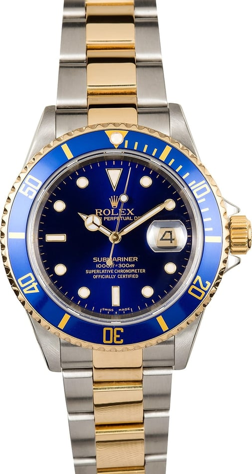 Rolex Submariner Two Tone Blue 16613T