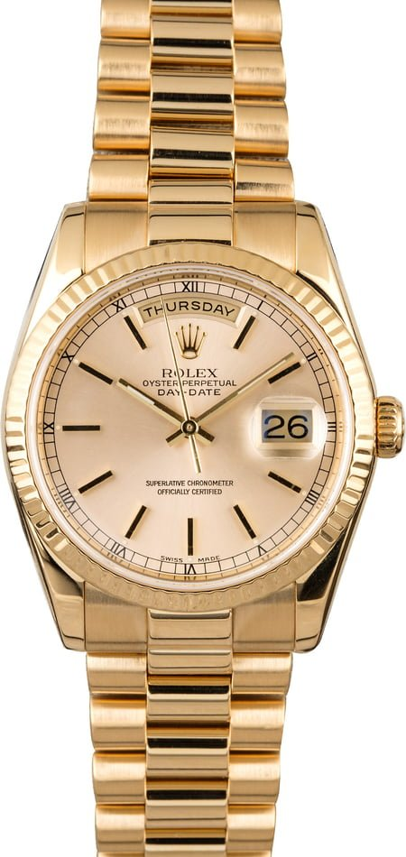 PreOwned Rolex Day Date President 118238 Silver Dial