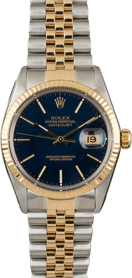 PreOwned Rolex Datejust 16013 Blue Index Dial