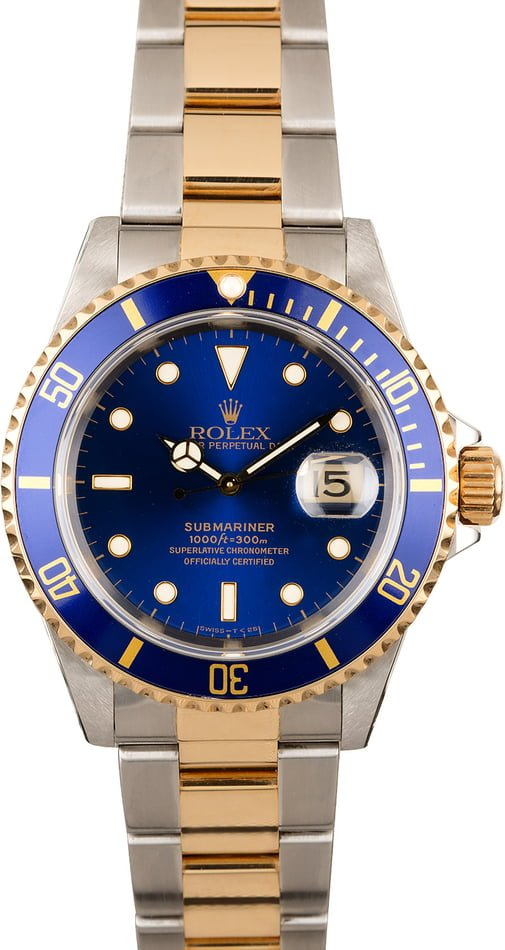 Pre-Owned Rolex Submariner 16613 Two Tone with Blue Dial