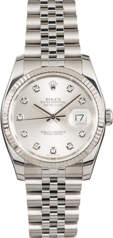 Pre Owned Rolex Datejust Silver Diamond Dial 116234