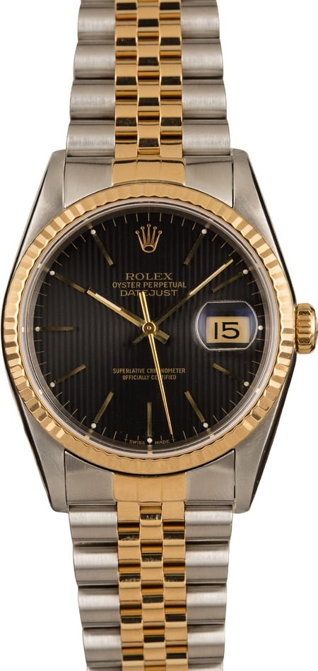 Pre-Owned Rolex 16233 Datejust Black Tapestry Dial