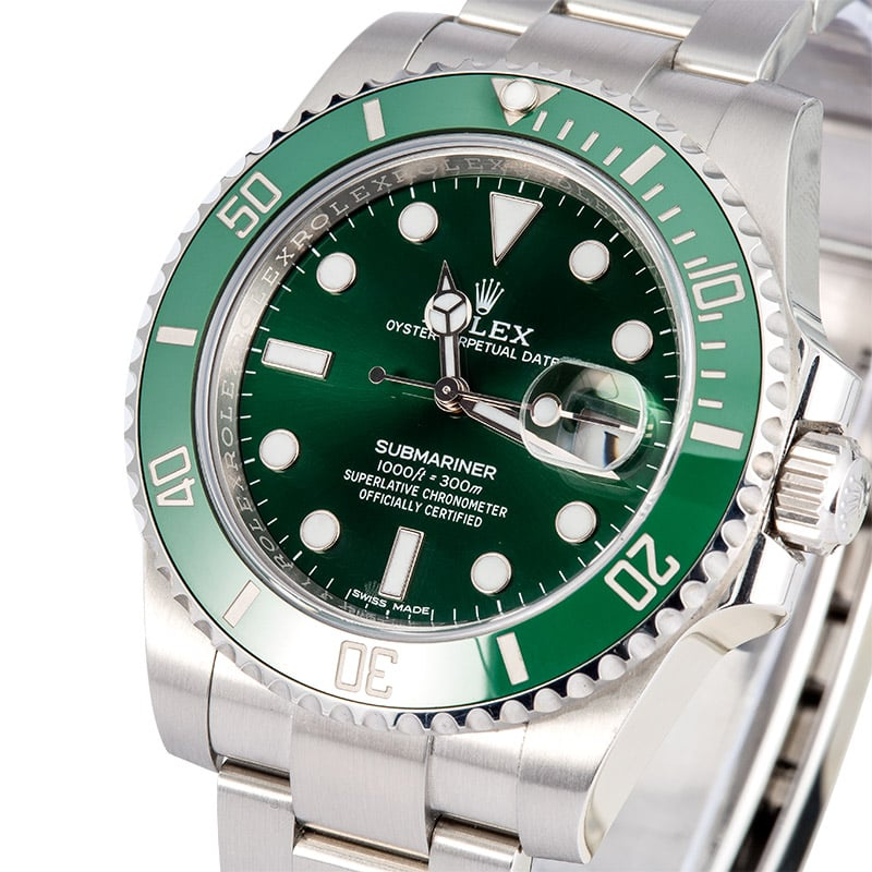 Used Rolex Submariner Ref 116610lv Green Hulk Rolex Box And Papers Steel