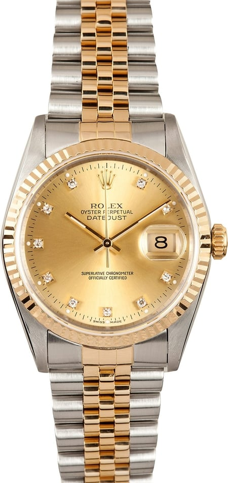 Rolex Mens Datejust Champagne Diamond 16233