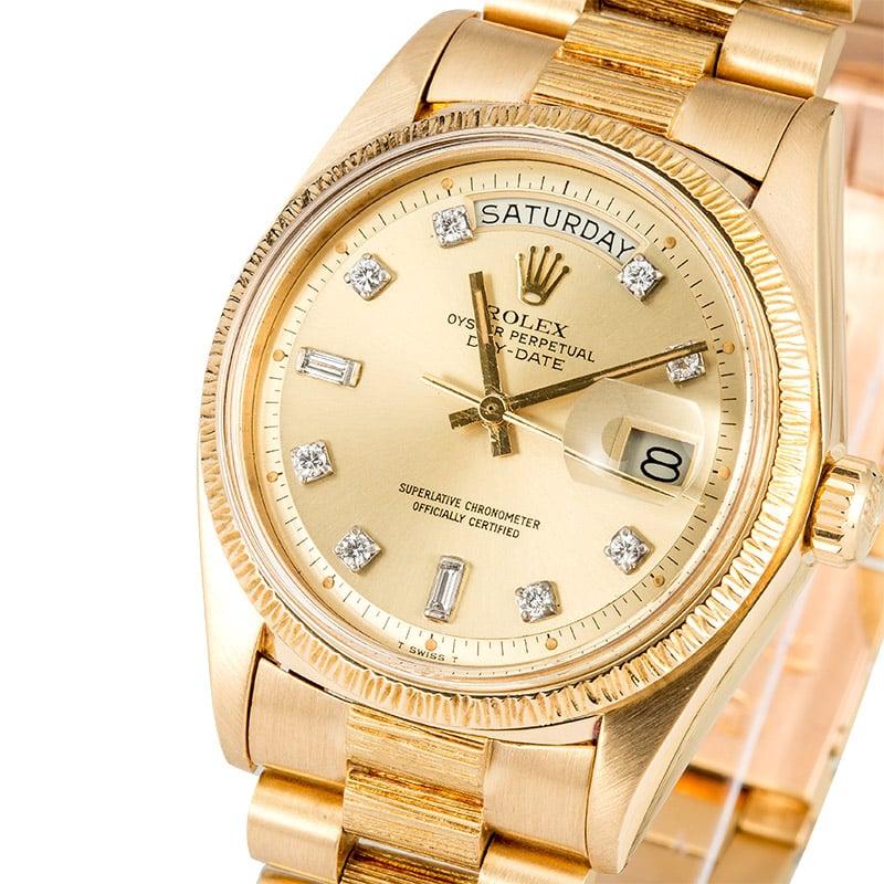 c9a32ec3c62 Rolex Bark Day-Date 1807 Diamond Dial, President 18K Yellow Gold, 1974