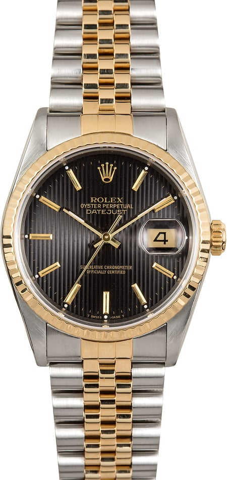 Rolex 36MM Datejust 16233 Black Tapestry Dial