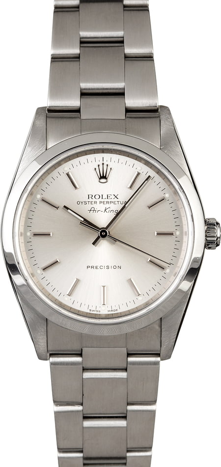 PreOwned Men's Rolex Air King 14000 Silver Dial