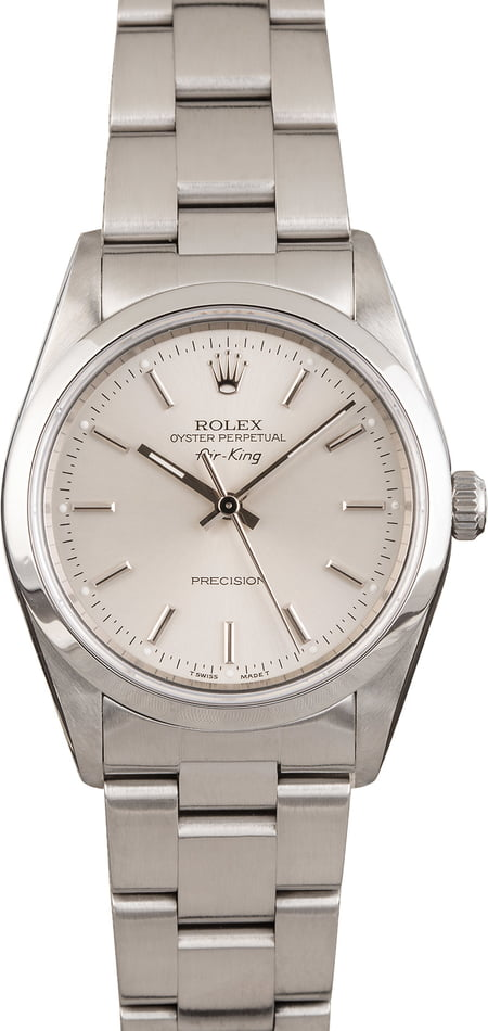 Pre Owned Rolex Air-King 14000 Steel 34MM Silver Dial