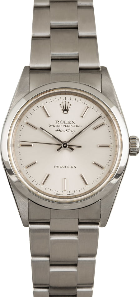 Pre Owned Rolex Air-King 14000M Silver Index Dial