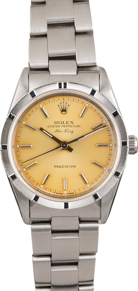 PreOwned Rolex Air-King 14010 Aged Silver Index Dial