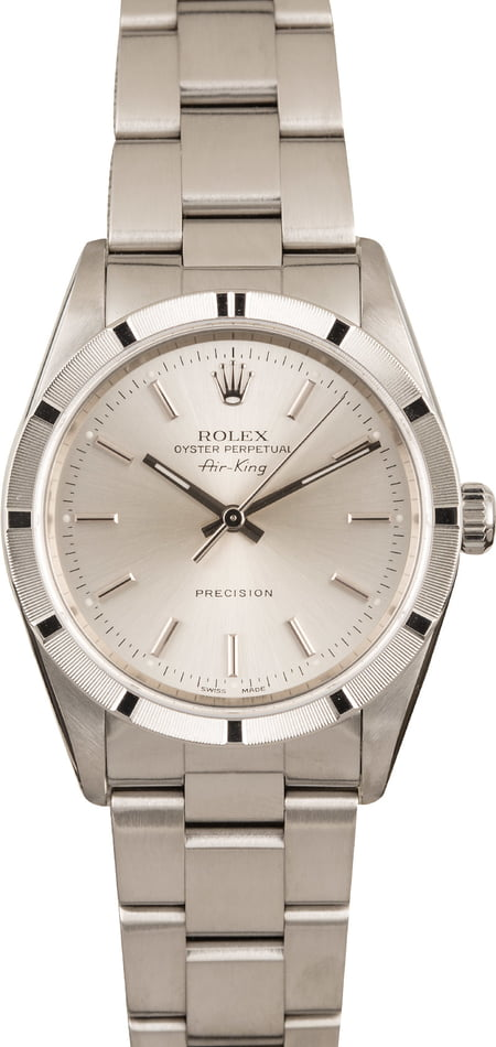 Used Rolex Air-King 14010 Silver Dial