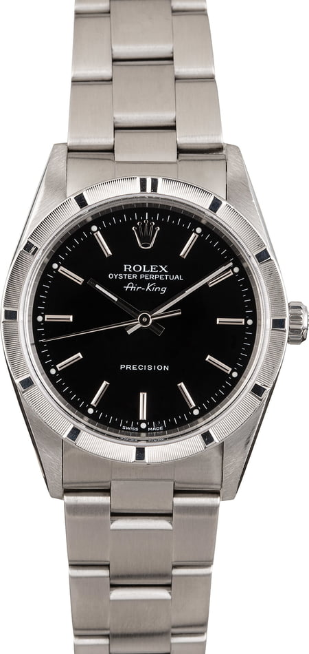 Pre Owned Rolex Air-King 14010M Black Index Dial