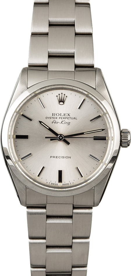 Men's Rolex Air-King 5500 Steel Oyster Silver Dial