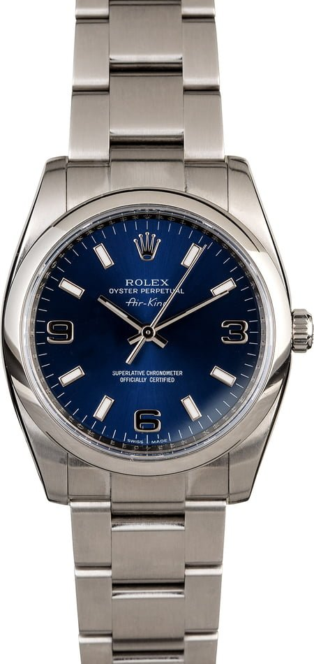 PreOwned Rolex Air-King 114200 Blue Dial
