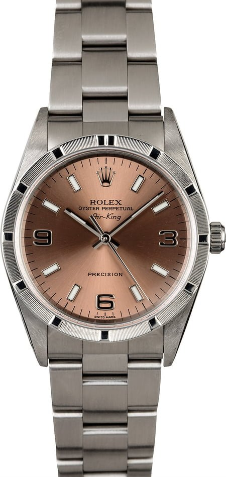 Rolex Air-King 14010 Salmon Dial Steel Oyster