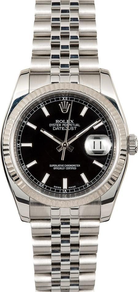 Rolex Black Datejust 116234 Stainless Jubilee