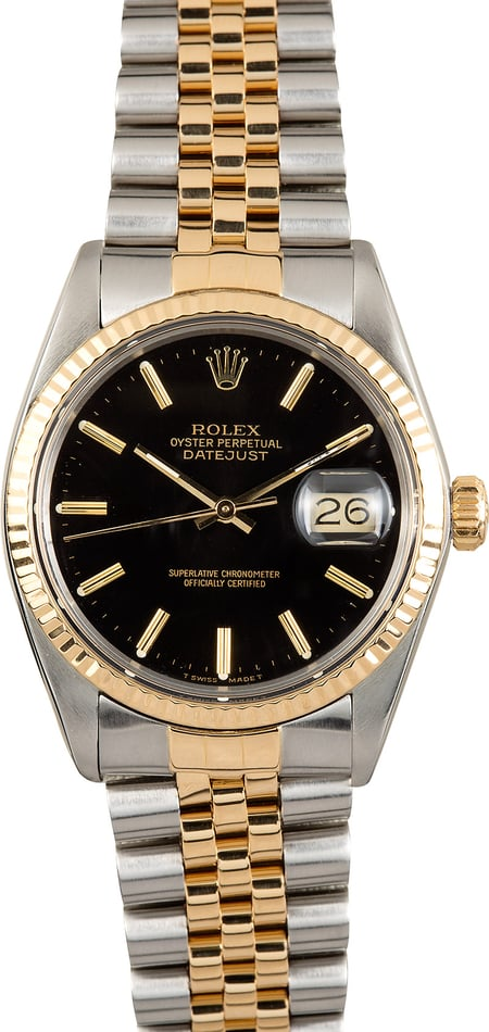 Rolex Black Datejust 16013 Two-Tone