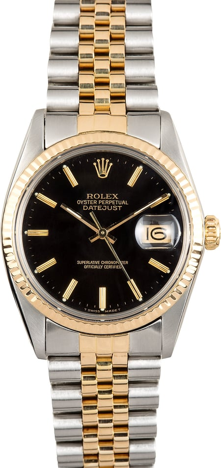 Rolex Black Datejust 16013 Two-Tone Jubilee