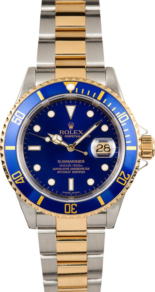 Rolex Blue Submariner 16613 No Holes