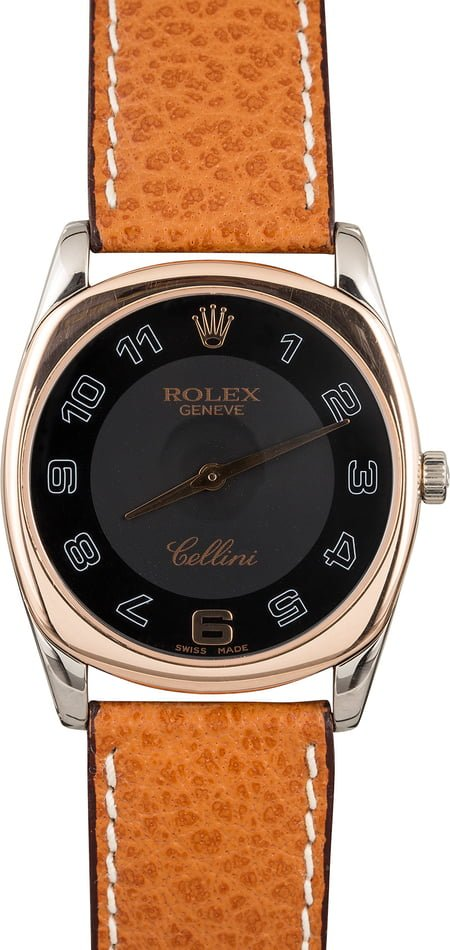 Pre-Owned Rolex Cellini 4233 Black Arabic Dial t