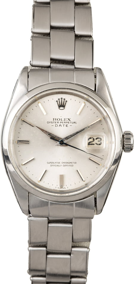 Rolex Date 1500 Silver 'Pie Pan' Dial