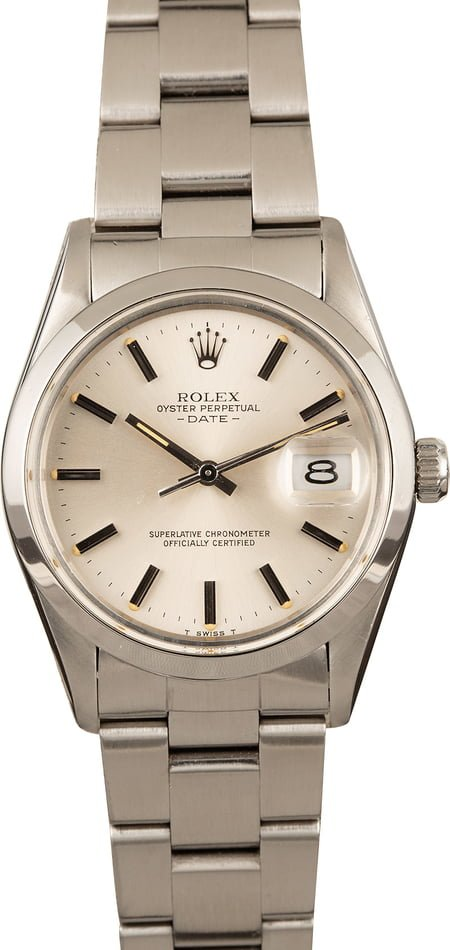 Pre-Owned Rolex Date 15000 Stainless Steel Silver Dial