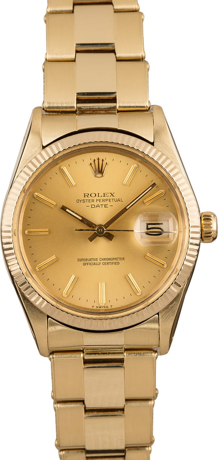Pre-Owned Rolex Date 15037 Yellow Gold Oyster T