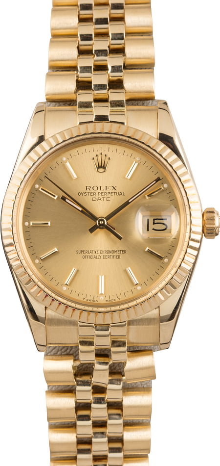 Used Rolex Date 15037 Champagne Index Dial