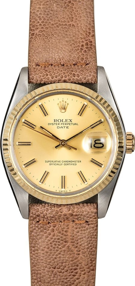 Date Rolex 1505 Champagne Index Dial