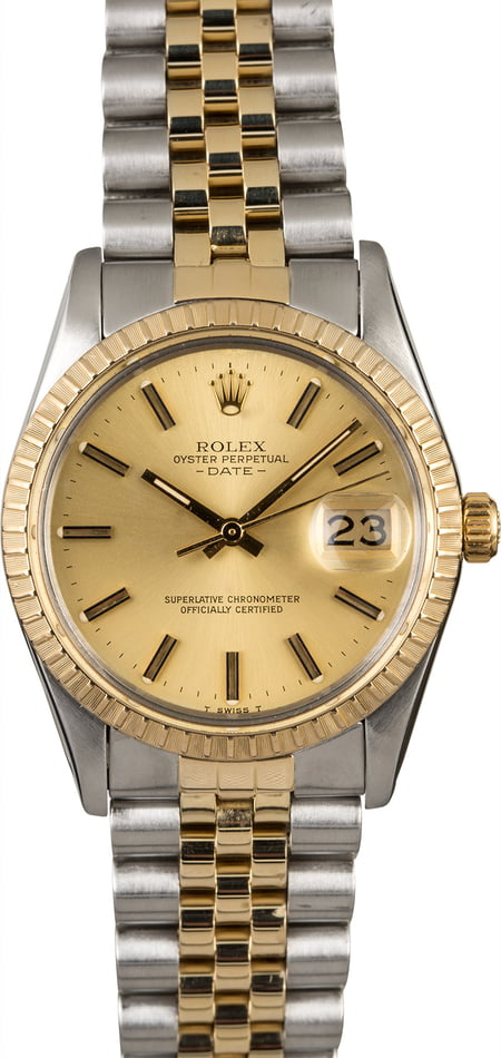 Two Tone Rolex Date 15053 Champagne Index Dial
