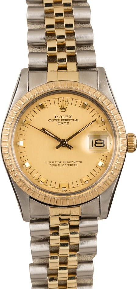 Rolex Two Tone Date 15053 Champagne Dial