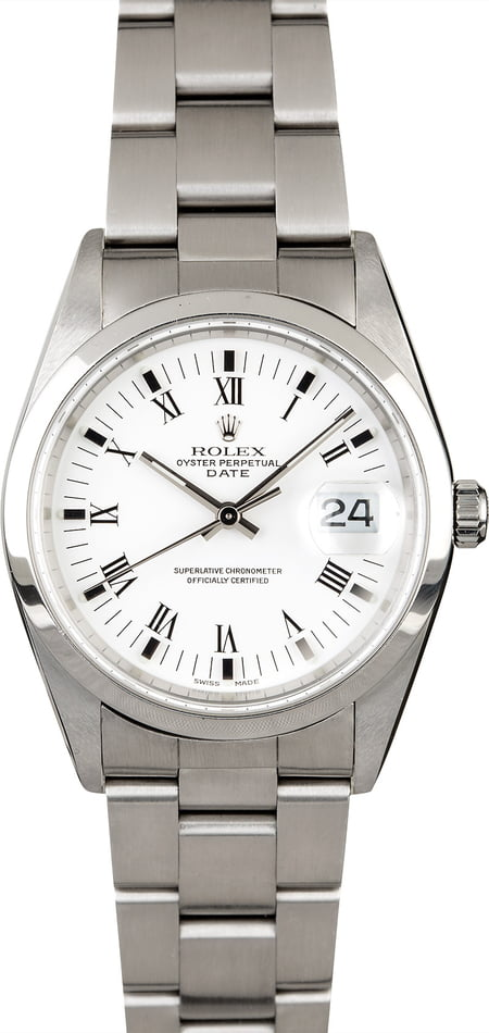 PreOwned Rolex Date 15200 White Roman Dial