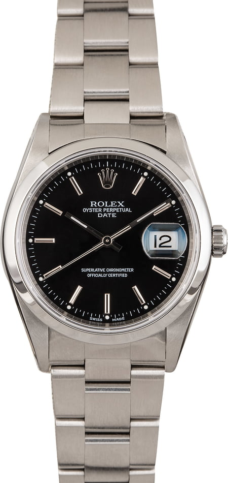 Rolex Date 15200 Steel Oyster Black Dial 34MM
