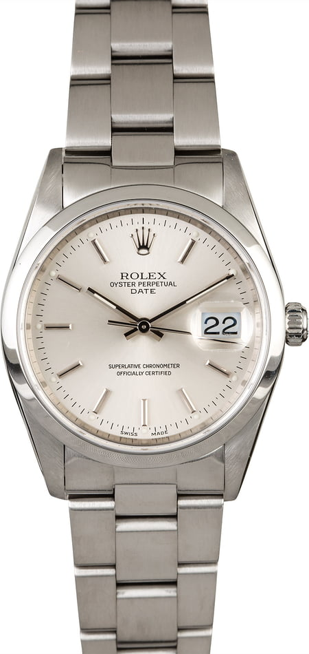 PreOwned Men's Rolex Date 15210 Silver Dial