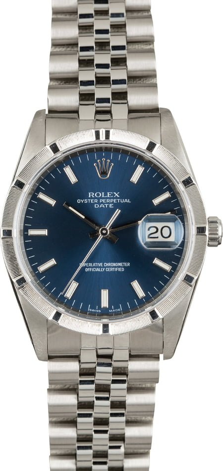 Pre Owned Rolex Date Stainless 15210 Blue Index Dial
