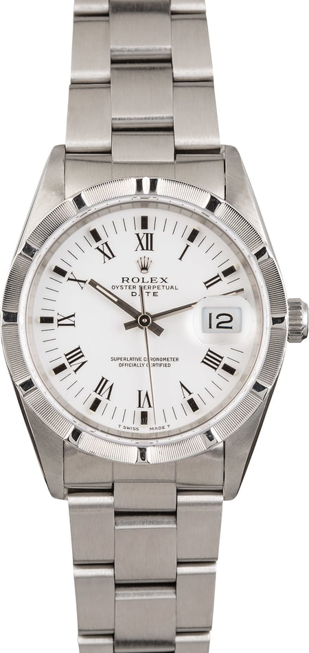 Pre Owned Rolex Date 15210 White Roman Dial
