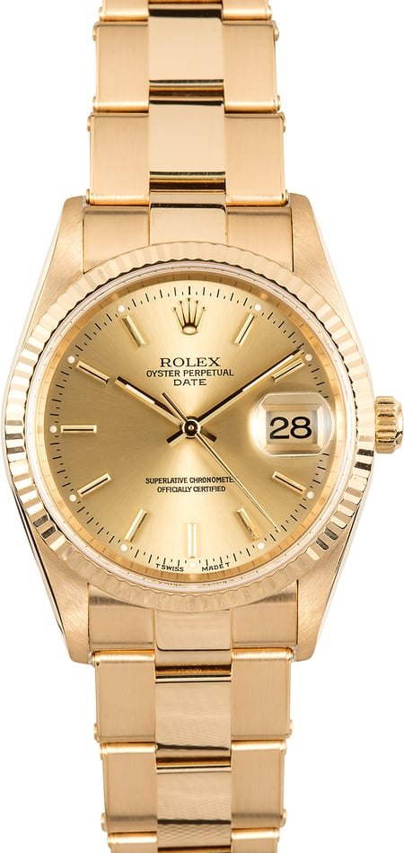 Rolex Date 15238 Yellow Gold Oyster