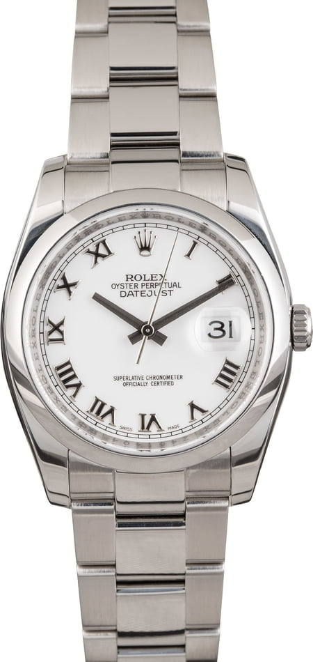 PreOwned Rolex 116200 Datejust 36MM White Roman