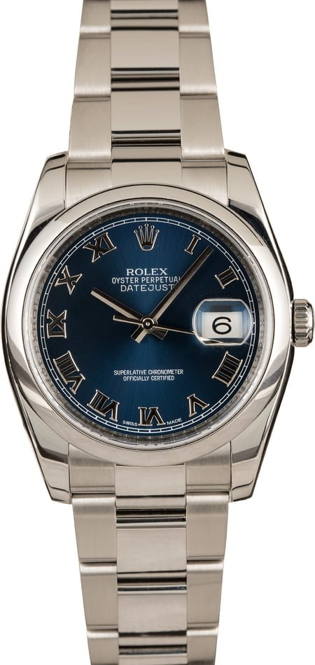 Pre-Owned Rolex Datejust 116200 Blue Roman