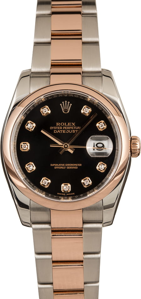 Rolex Datejust 116201 Black Diamond Dial T