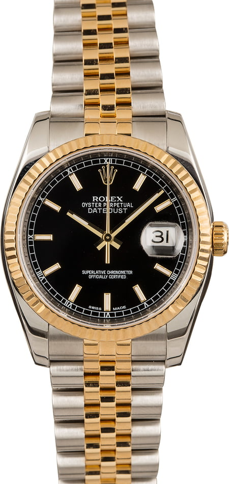 PreOwned Rolex Two Tone Datejust 116233 Black Index Dial
