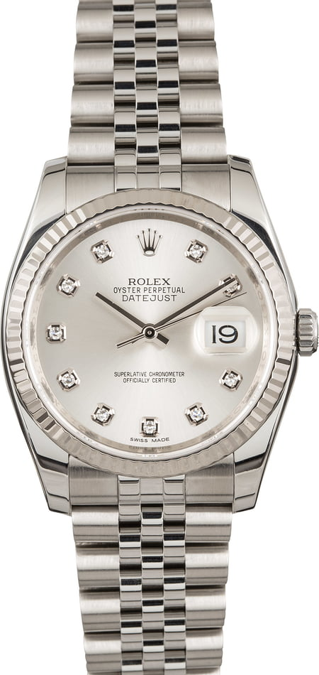 Pre Owned Rolex Datejust 116234 Silver Diamond Index Dial
